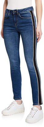 Karen Millen Side-Striped Mid-Rise Jeans