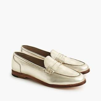 J.Crew Ryan penny loafers in metallic leather