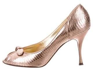 Dolce & Gabbana Snakeskin Peep-Toe Pumps