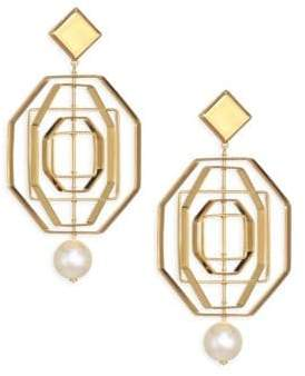 Tory Burch Geo Pearl Statement Earrings