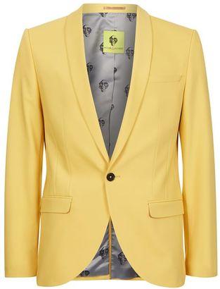 NOOSE & MONKEY Yellow Slim Fit Suit Jacket $220 thestylecure.com