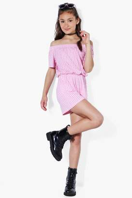 boohoo Girls Frill Top Bardot Gingham Playsuit