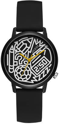 GUESS Women Pencils of Promise & Timothy Goodman Black Silicone Strap Watch 32mm - A Special Edition