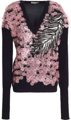Emilio Pucci Embroidered Sequin Embellished Wool Silk And Cashmere-Blend Top