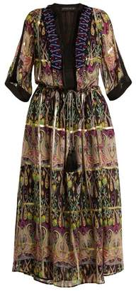 Etro Embellished Silk Blend Chiffon Dress - Womens - Pink Multi