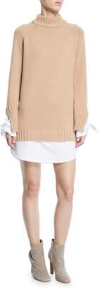 ENGLISH FACTORY Teddy Turtleneck Long-Sleeve Sweater Shirtdress