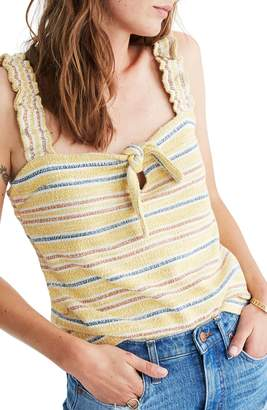 Madewell Texture & Thread Stripe Tie Front Tank Top