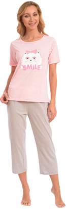 "Patricia from Paris Women's Soft Kitten ""Smile Cat"" Short Sleeve 2PC Capri Pajama Set (Grey, L)"
