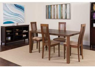 Flash Furniture Eastcoate 5 Piece Walnut Wood Dining Table Set with Framed Rail Back Design Wood Dining Chairs - Padded Seats