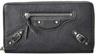 Balenciaga Classic Silver City Leather Continental Zip Around Wallet