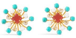 Bounkit Gold-Tone Turquoise Carnelian And Coral Earrings
