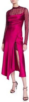 Jonathan Simkhai Sateen Lingerie Lace Underlay Long-Sleeve Midi Dress