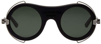 Black Round Metal Trim Logo Sunglasses