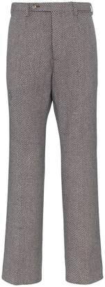 Gucci check straight wool blend trousers