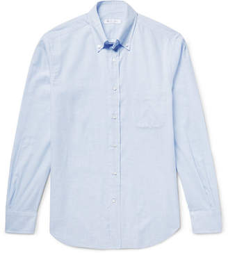 Loro Piana Alfred Button-Down Collar Checked Brushed-Cotton Shirt - Sky blue