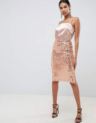 Asos DESIGN midi sequin tube skirt