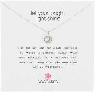 Dogeared Reminders- Let Your Bright Light Shine Sterling Sun and Moon Charm Necklace