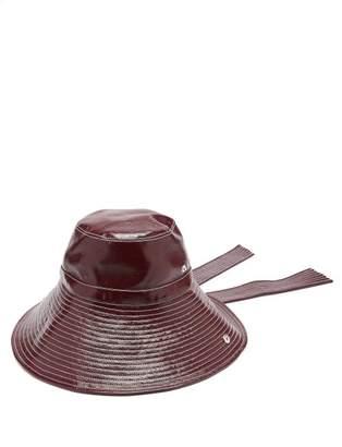 Ganni Port Royale Patent Bucket Hat - Womens - Burgundy