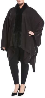 Adrienne Landau Plus Fox Fur-Trim Knit Serape Wrap, Plus Size