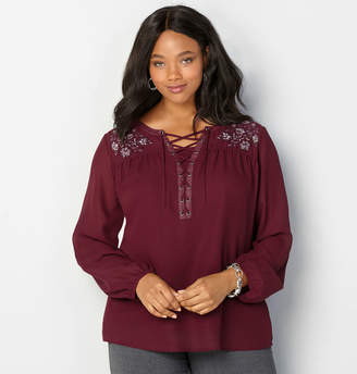 Avenue Embroidered Lace-Up Blouse