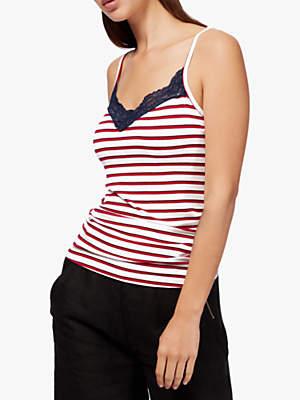 Brora Lace Jersey Stripe Cami Top, Nautical Stripe
