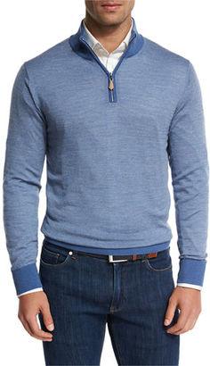 Peter Millar Collection Merino-Silk-Cashmere Birdseye Quarter-Zip Sweater $348 thestylecure.com