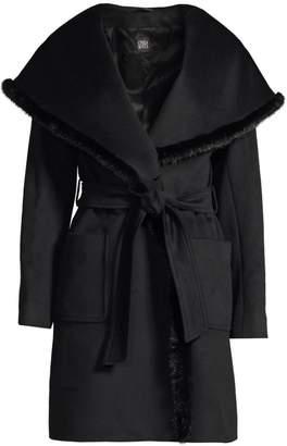 Cinzia Rocca Wool & Mink Fur-Trim Wrap Coat