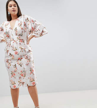 Asos DESIGN Curve kimono midi dress in printed floral jacquard