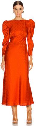 Saloni Alena Midi Dress in Bitter Orange | FWRD
