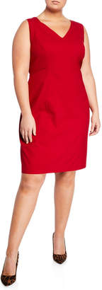 Lafayette 148 New York Geneva V-Neck Sleeveless Sheath Dress, Plus Size