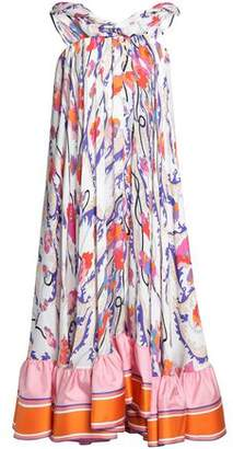 Emilio Pucci Asymmetric Printed Silk Midi Dress