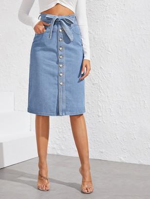 Shein Button Front Belted Straight Denim Skirt