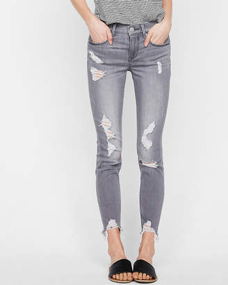Express Mid Rise Gray Destroyed Stretch Ankle Jean Leggings