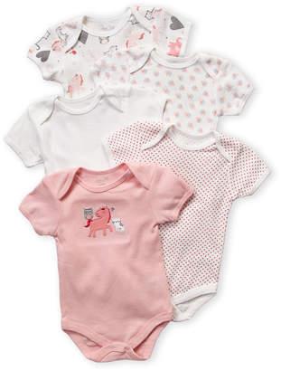 Rene Rofe Newborn Girls) Pink 5-Pack Unicorn & Heart Bodysuits