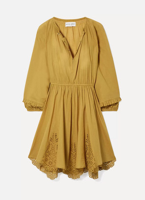 Apiece Apart Vereda Broderie Anglaise Cotton-voile Mini Dress - Mustard