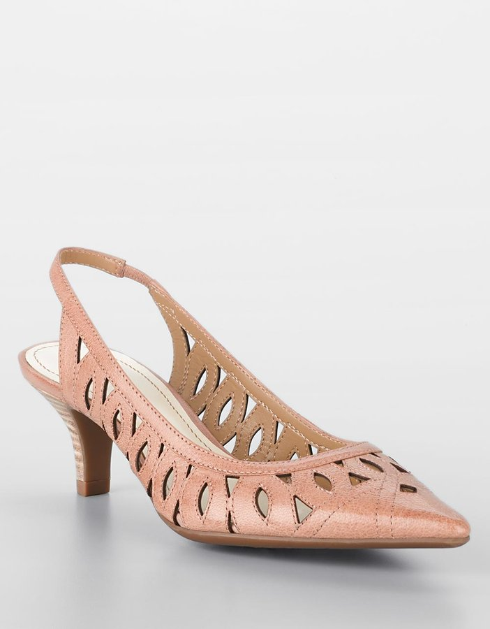 Ak Anne klein Dynamo Pointy-Toe Cut-Out Leather Slingbacks