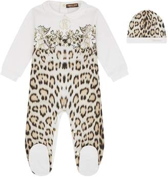 Roberto Cavalli Leopard Print All-In-One and Hat Set