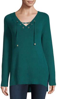 Liz Claiborne Lace Up Sweater - Tall