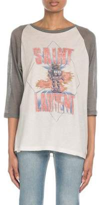 Saint Laurent 3/4-Sleeve Raglan Sleeve Robot Logo Graphic Tee