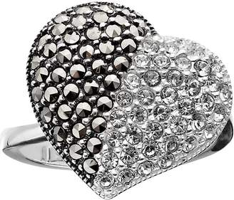 Swarovski Lavish By Tjm Lavish by TJM Sterling Silver Crystal Heart Ring - Made with Marcasite