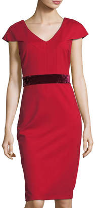 Taylor Cap-Sleeve Sheath Dress w/ Velvet Waist