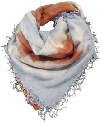 Chan Luu NEW Dusty Blue w Terracotta Cashmere and Silk Tie-Dyed Scarf Shawl Wrap