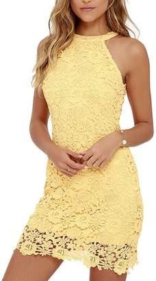 Yacun Women's Cocktail Dress Summer Sleeveless Halter Bridemaid Party Dresses M
