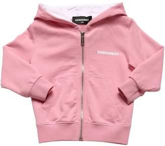 DSQUARED2 Logo Zip-Up Cotton Sweatshirt Hoodie
