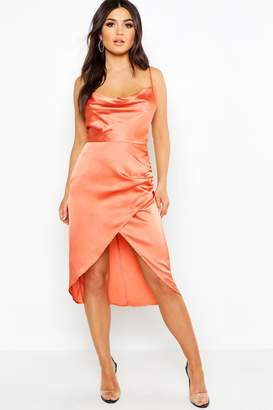 boohoo Satin Cowl Neck Wrap Skirt Midi Dress