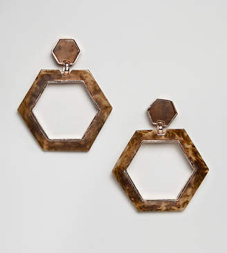 Glamorous tortoiseshell hexagon drop earrings