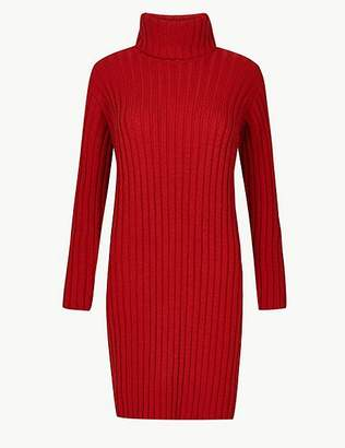 Marks and Spencer Textured Roll Neck Knitted Dress