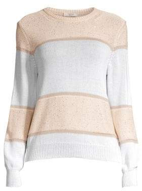 Peserico Striped Sequin Crewneck Sweater