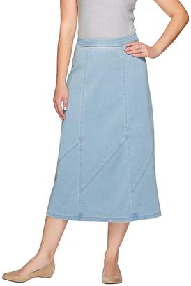 Denim & Co. Stretch Denim Midi Skirt with Panel Details