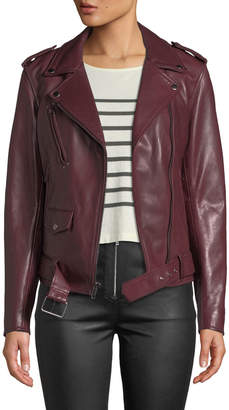 7 For All Mankind Zip-Front Leather Biker Jacket